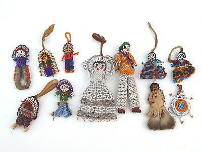 Vtg. Collection of 11 Native American Indian Navajo Beaded Fetish Whisby Dolls