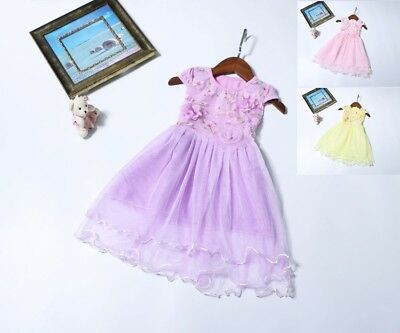 New Princess Baby Girls Birthday Summer Party Flower Dress Age 3-4-5-6-7 Years