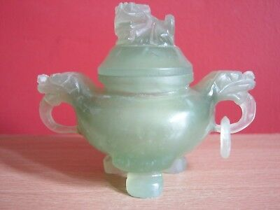 Chinese  jade tripod censer Incense Burner with cover.