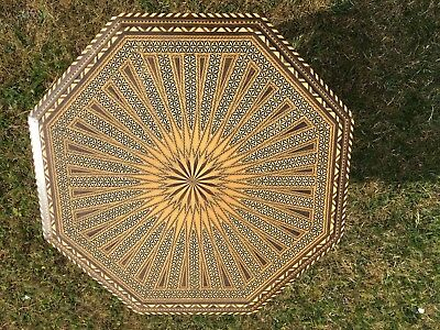 Fancy Italian Marquetry Inlaid Octagonal Occasional Table; yellow, black, brown