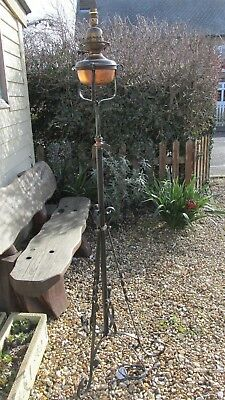 Antique standard lamp copper and wrought iron
