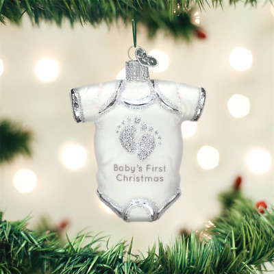 White Glass Baby's First Christmas Outfit Ornament by Old World - Gift Boxed