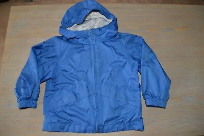 Kids Toddler Boys LL Bean Windbreaker Jacket Hooded Navy Blue Nylon Raincoat 3T