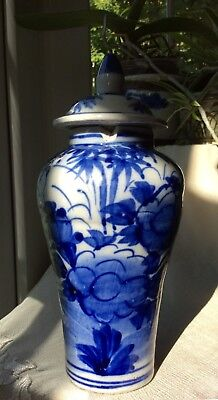 Chinese Antique 19th C Temple Vase Jar + Cover Blue and White