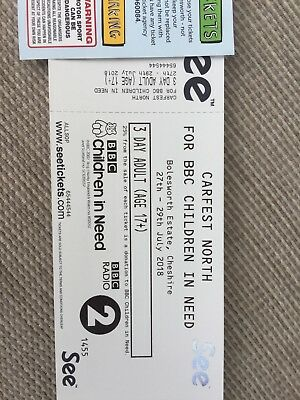 2 x carfest north weekend adult tickets