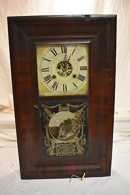 Antique Early American New Haven Weight Driven Fine Parlor Clock Circa 1881 Runs