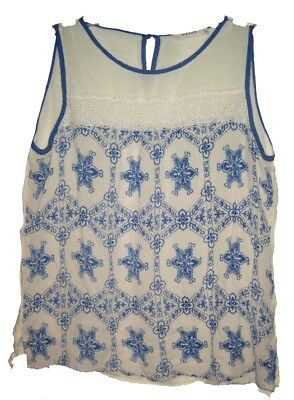 11187b5d3466a ENTRO Boho Sleeveless Top Sheer w Floral Lace Lightweight Cotton  Blue Eggshell S