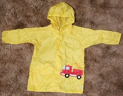 iplay Boys' Size 3T/4T Yellow Firetruck Rain Jacket Raincoat Portable Pouch