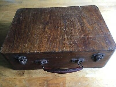 Vintage medical equipment in period Wooden case glass syringes etc