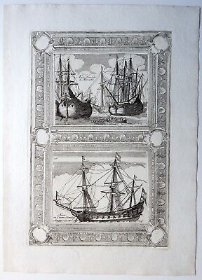 1697 CORONELLI Dutch Vessel and Galleons Rare Original Antique Print - Holland