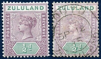 South Africa / Zululand 1894-96 mint & used 1/2d mauve & green