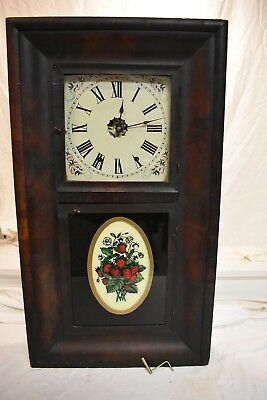 Antique Early American New Haven 8Day Weight Driven Two Door Parlor Clock Runs