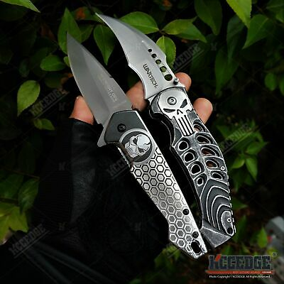 2PC MILITARY KNIFE SET PUNISHER SKULL TacForce MIDNIGHT OPS Grey Pocket Knife +