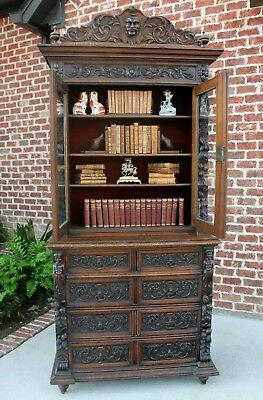 Antique French Renaissance Gothic Bookcase Cabinet Chest of Drawers 19th C