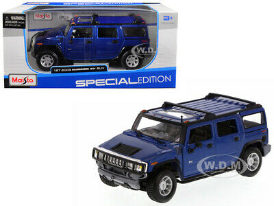 2003 Hummer H2 Suv Blue 1/27 Diecast Model Car By Maisto 31231