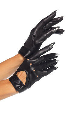 One Size Fits Most Womens Motorcycle Gloves With Claws, Black Gloves