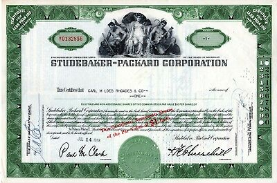 Studebaker Packard of Michigan 1958 Stock Certificate - green- par change