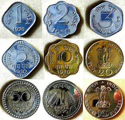 INDIA - set  9 coins Bombay Mint - 1970 - marked 'B' ( proof )