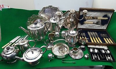 Large Joblot Of Antique/Vintage Silver Plated item  10kg