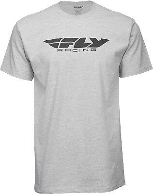 Fly Racing Casual Corporate Logo Men's Grey Short Sleeve Tee T-Shirt