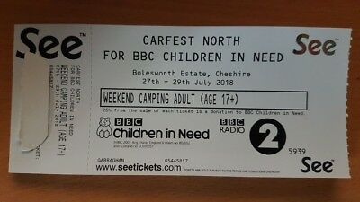 Carfest North Adult Weekend Camping Ticket 27th - 29th july