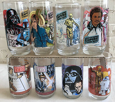 1977 Lot / 8 Burger King Coca Cola 2 STAR WARS 4 Empire 2 Jedi Glasses Excellent