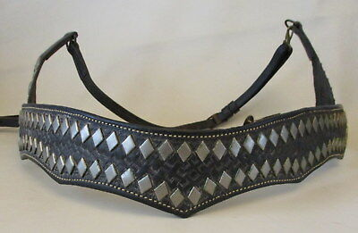 Vintage 1950's Black Leather Studded Parade Breast Collar