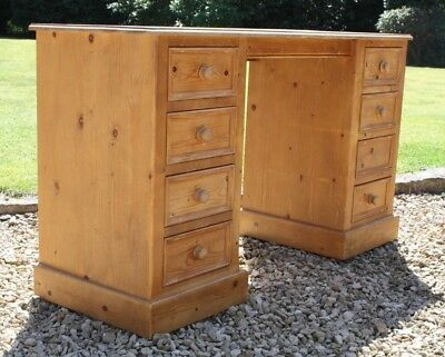 Pine Dressing Table or Desk with 8 Drawers