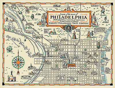 1940 pictorial philadelphia map wall art poster print decor vintage 1940 pictorial philadelphia map wall art poster print decor vintage history freerunsca Gallery