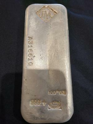 Vintage Johnson Matthey 100 Ounce Oz Silver Bar