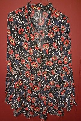 Free People Print Tunic Dress S P Bell Sleeve Boho Festival Black Red Floral Top