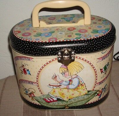 Mary Engelbreit Sewing or Craft Tin with handle and Clasp Closure 90's