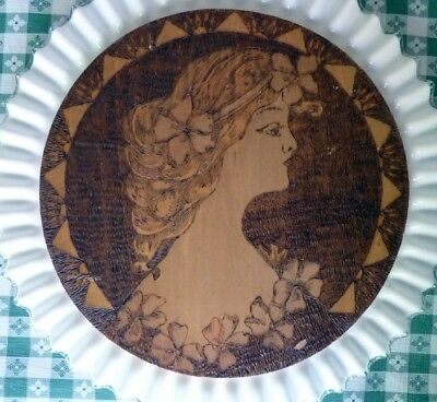 Antique Pyro Wood Art Pyrography Victorian Lady Portrait Wood Wall Plaque