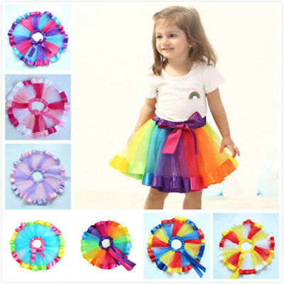 Girls Child Rainbow Ballet Dance Dress Kids Tutu Skirt Party Pettiskirt Costume