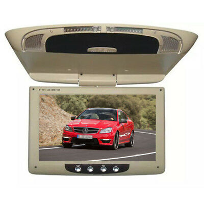 "1X 9"" TFT LCD Roof Mount Monitor Flip-Down Screen Overhead Video Ceiling Display"