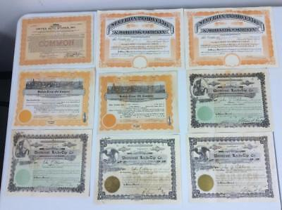 1920's Common Stock Certificate Auto Stores, Producing & Drilling, Oil, Lock Tip