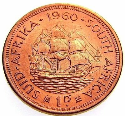 Uncirculated 1960 South Africa Dromedaris Sail Ship Unc Gem Bu Large Penny