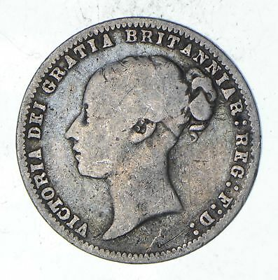 Roughly Size of Dime - 1878 Great Britain 6 Pence - World Silver Coin *094
