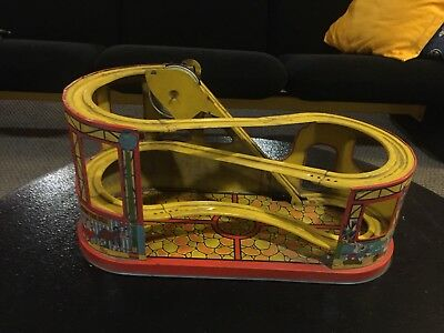 Vintage J Chein Tin Disneyland Rollercoaster With Two Cars Toy Antique