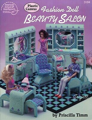 Fashion Doll Beauty Salon ~ fits Barbie dolls, plastic canvas pattern book NEW