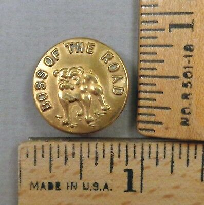 BOSS OF THE ROAD / BULLDOG Brass Overall / Work Clothes BUTTON, 1800s, MEDIUM