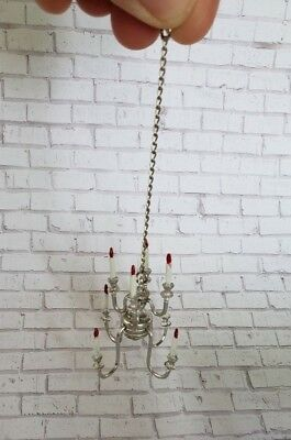 Vintage Dollhouse Miniature Silver Tone Metal Candle Chandelier Ceiling Light