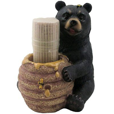 Decorative Black Bear in a Beehive Honey Pot Toothpick Holder Figurine for Cabin