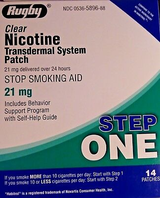 Rugby 21mg Nicotine Transdermal System 14 Clear Patches exp 12-19 New in Box