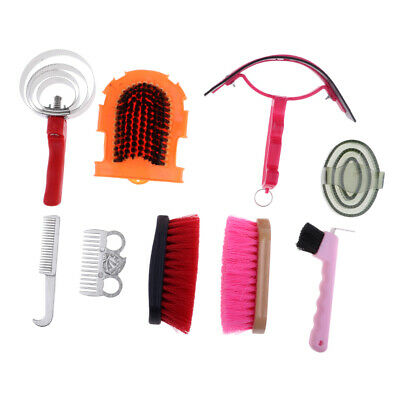 9pcs Horse Grooming Equipment Set Mane Tail Brush Horseshoe Hook Curry Comb