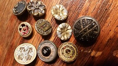 Sm Lot of 10 Metal Antique Vintage BUTTONS Painted Sparkles MoreF4