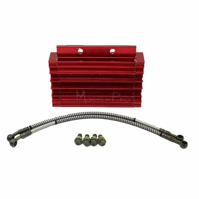 Red CNC Lifan Engine Oil Cooler + Brake Line 138/140/150cc Motovert Atomik Thump
