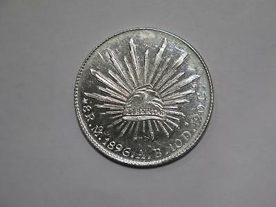 Mexico 1896 Mo Ab 8 Reales Silver Crown Size Type World Coin Collection Lot #xxx
