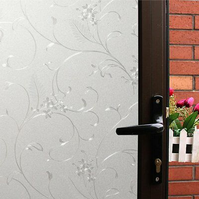 Mikomer Privacy Window Film Wheat Static Cling Glass Door Film, Non Adhesive