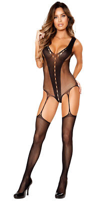 One Size Fits Most Womens Sultry V-shaped Bodystocking With Attached Garters,